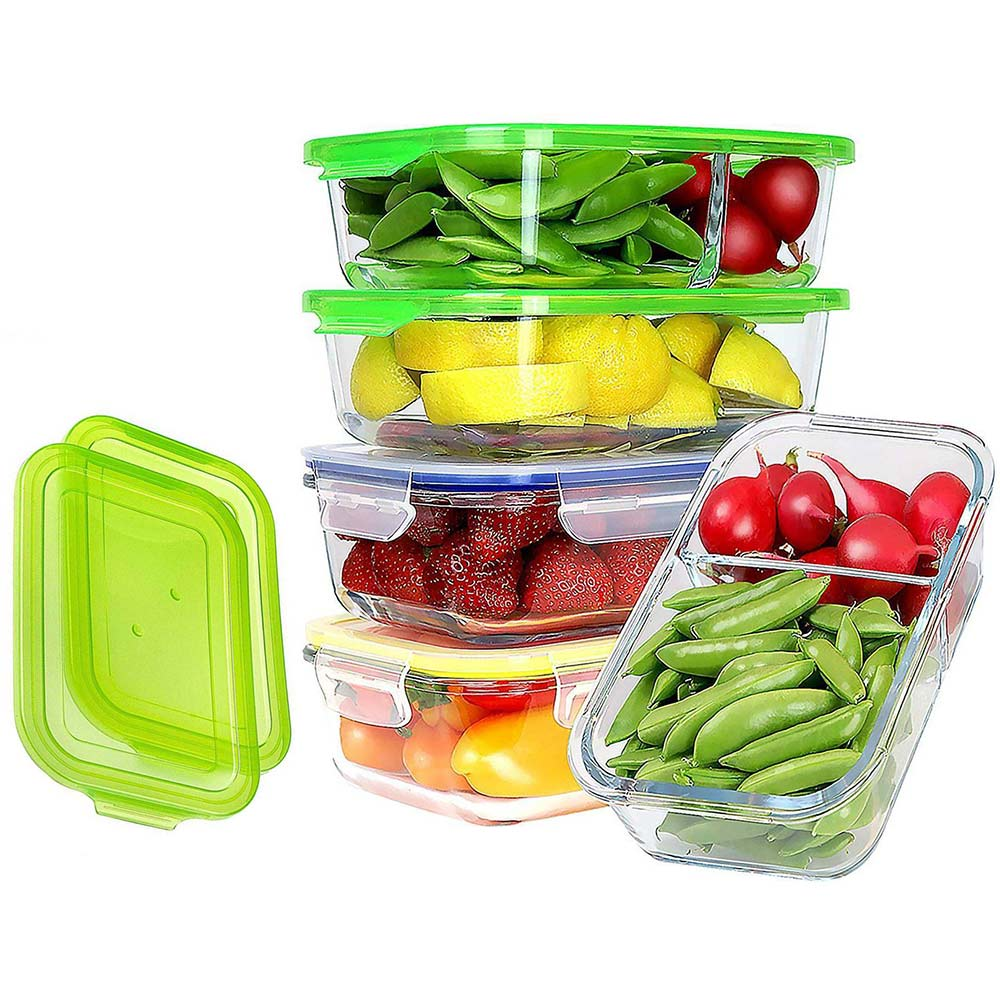 JinaMart Glass Food Storage Containers Lids 4 pieces glass