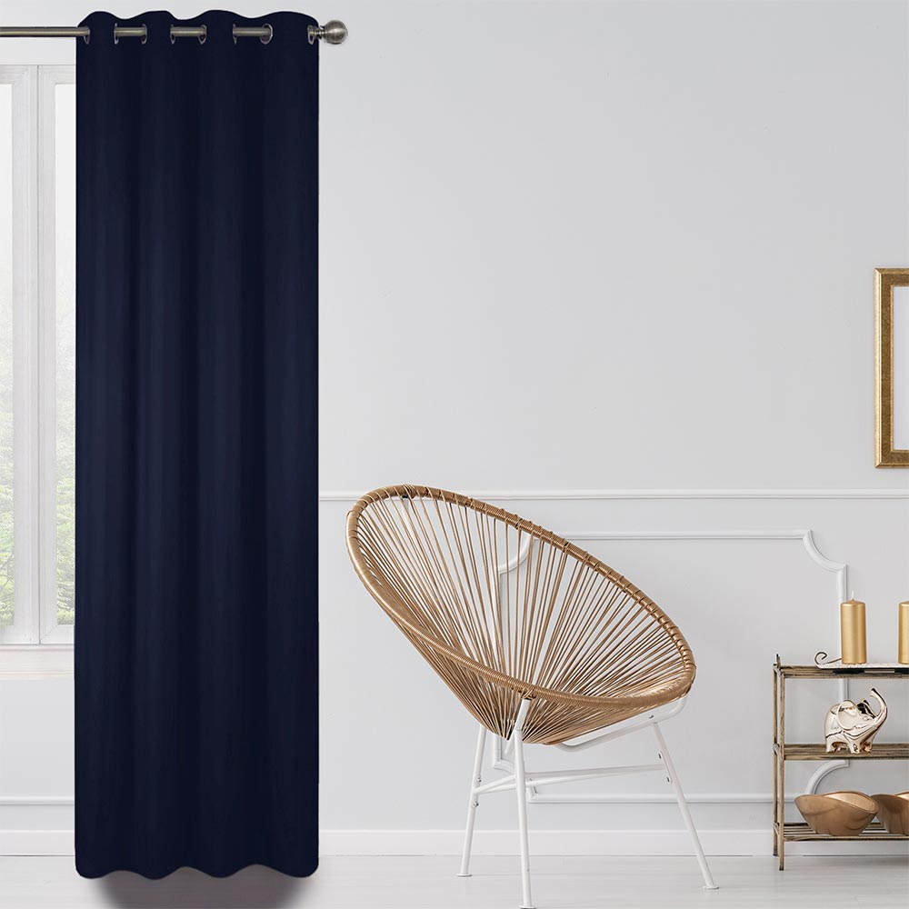 Blackout Lined Curtains Dark Blue