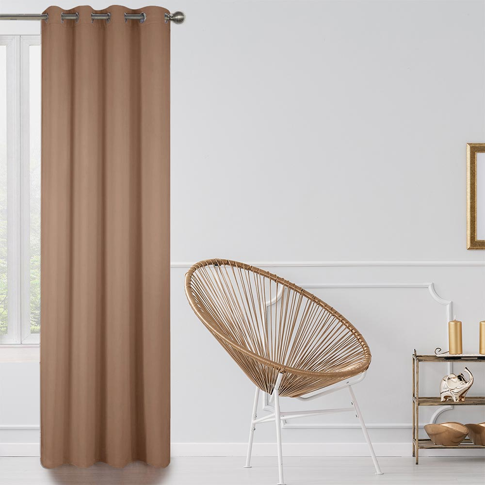 Blackout Lined Curtains Light Brown