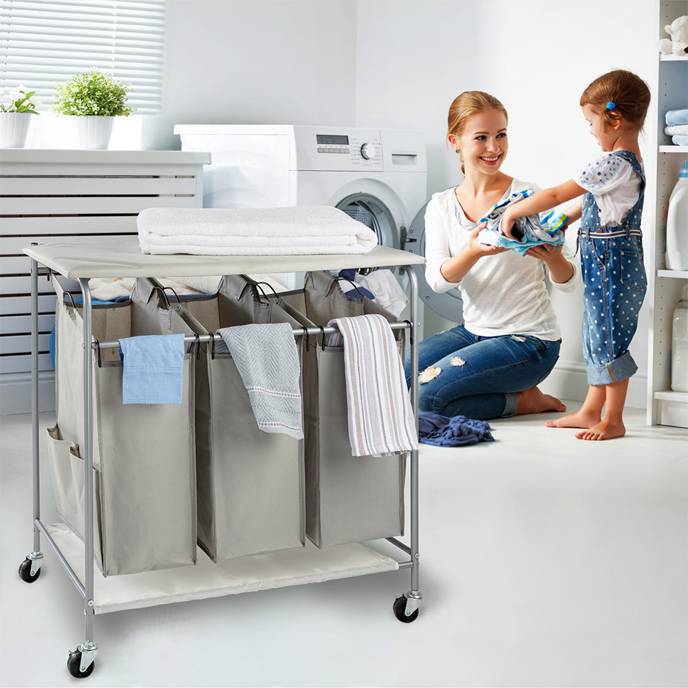 Rolling Laundry Hamper 3 bags with iron board grey